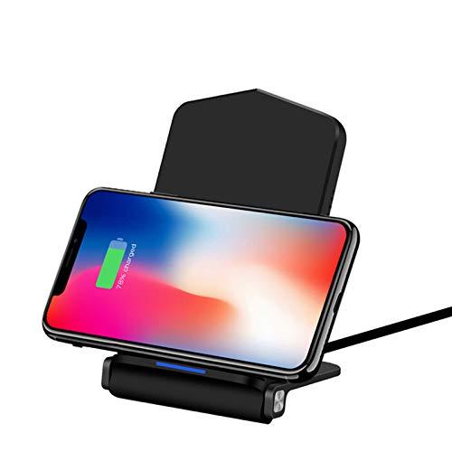 LTLJX Cargador Rápido Inalámbrico para iPhone 12/SE 2020/11/11 Pro/11 Pro MAX/XS MAX,Galaxy S20/Note 10/S10/S9,Negro