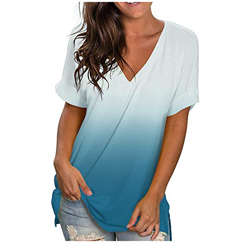 YANFANG Tops Sueltos de la Camiseta de Manga Corta,con Cuello en V de la Pendiente Ocasional de la Moda de Las Mujeres,Camisetas Estampadas para Mujer Blusa Túnica Tops Blusas
