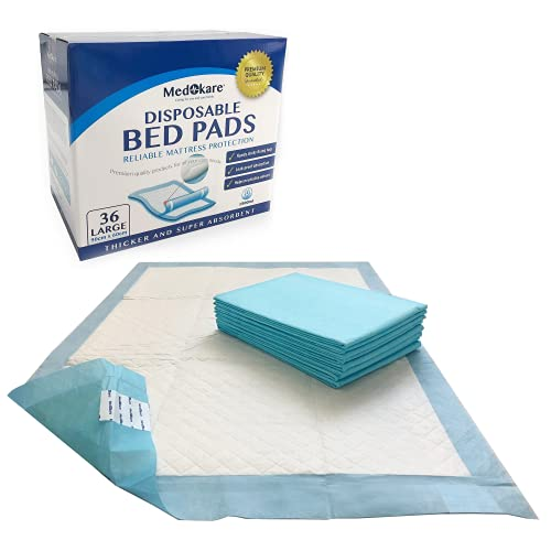 Medokare Bed Pads - Disposable Incontinence Underpads - 1500ml Medical Grade Hospital Chucks - Mattress Protector Mats for Elderly Adults, Patients & Kids - Adult Pee Pad - 36 Chux Liners (90 x 60cm)