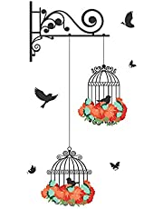 Decals Design Wall Sticker 'Hanging Birds Cage With Flowers'