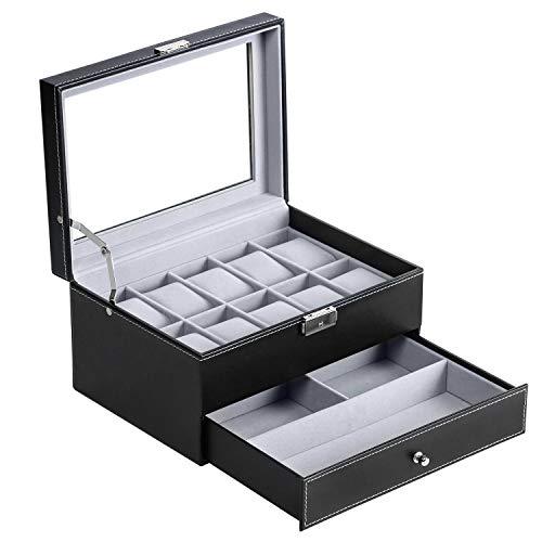 BASTUO Caja de reloj para hombre, organizador de 10 relojes con caja de exhibición de piel sintética con llave y bloqueo, color negro