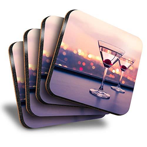 Destination Vinyl ltd Lot de 4 grands dessous de verre carrés – Verres à Martini à alcool pour bar Boisson Brillants pour tout type de table #21851