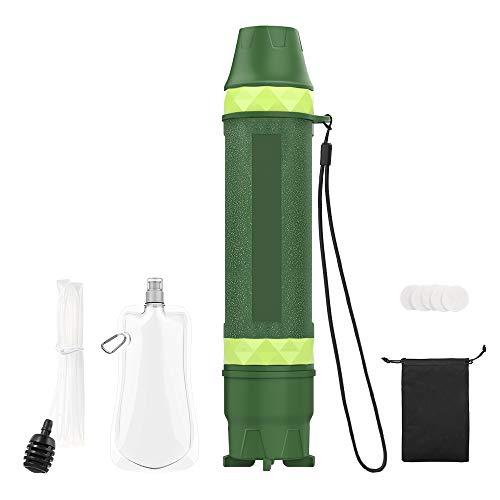 MoKo Tragbar Wasserfilter, Persönlich Wasserfilter Outdoor Survival Notfall Wasserreiniger für Camping, Wandern, Angeln, Reisen, Backpacking - Armeegrün