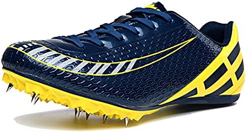 Zapatos de Pista y Campo Unisex, Zapatillas de Deporte de PU con Pinchos para Correr, Tenis Antideslizantes para Atletismo, Zapatillas de uñas Plateadas Doradas (Color : Orange, Size : 37 EU)