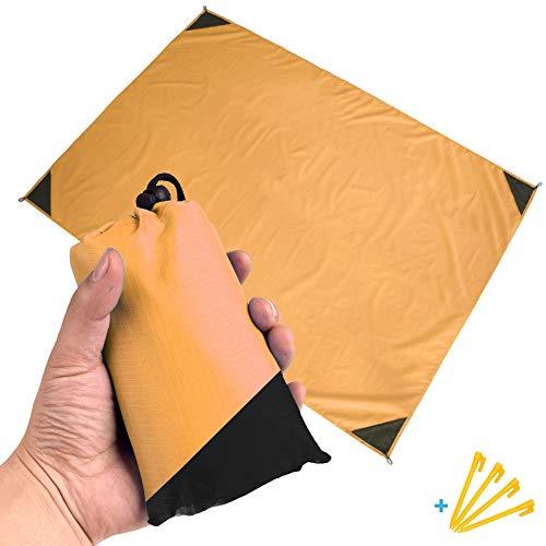 Tragbar Nylon Picknickdecke im Hosentaschenformat Wasserdicht Ultraleicht & Kompakt Ground Sheet Pocket Blanket Tarp Leichte Stranddecke mit Tasche & 4 Bodenspitzen,1.4m × 1.5m2