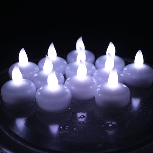 IMAGE Flickering Flameless Floating LED Candles 12PCS Smokeless Waterproof Floating LED Tealights Candles for Wedding Party Spa Home Indoor Outdoor Decor-Cool White