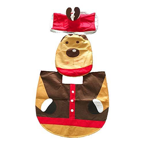 HSDCK Kerst Toilet Versier 3-delige Kerstmis Mooie Kerstman Toilet Stoelhoezen Set en tapijt Rode Decoraties Badkamer Set