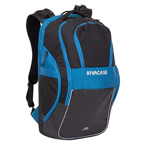 RIVACASE Mercantour 43,9 cm (17.3 Zoll) Laptoprucksack Notebookrucksack reflektierend mit versteckten Taschen, moderner und sportlicher Rucksack für Schüller und Studenten / 5265 schwarz blau