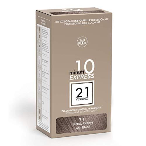 21 VENTUNO Tinta per Capelli senza Ammoniaca Professionale fai da te Copertura Capelli Bianchi in 10 minuti Senza Parabeni e Ammoniaca Colore Biondo Cenere 7.1 MADE IN ITALY