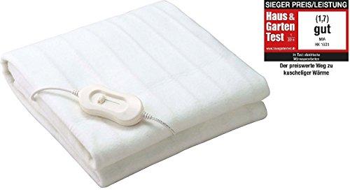 ThermaRelaxx weiches Wärmeunterbett Wärmedecke mit Schnellaufheizung und Abschaltautomatik, 150x80 cm, Heizmatte mit 60 W, Heizdecke bis zu 45 C° Maschinenwäsche geeignet, weiss