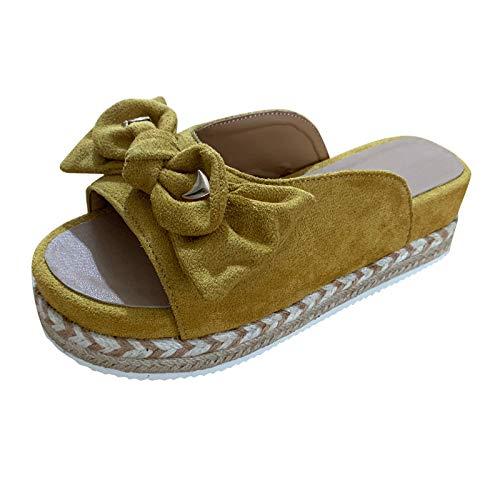 YANFANG 2021 Verano De Las Mujeres Slip-On Flat Bow Beach Sandalias Transpirables con Punta Abierta Zapatos Tejido,Plataforma Sexy, CuñAs, Tacones Altos, Zapatillas Plataforma Mujer CuñA,38,Amarillo
