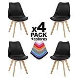 duehome (Beench Pack de 4 sillas, Madera de Haya, 49 x 53.5 x 83 cm, Negra