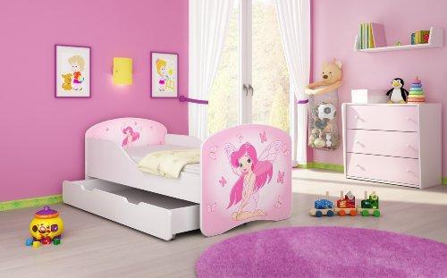 Clamaro 'Traumland' Motiv Kinderbett 80 x 160 cm inkl. Matratze, Lattenrost und Bettkasten Schublade auf Rollen, Kantenschutzleisten und Rausfallschutz, Motiv: 07 - Pink Fairy Motiv