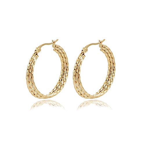 Yumay 9CT Yellow Gold Hoop Earrings for Women and Girls,3 Layer Hand-Tiwsted Ladies Earrings(30MM)