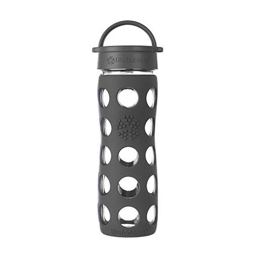 Lifefactory Glas Trinkflasche mit Silikon-Schutzhülle, BPA-frei, auslaufsicher, spülmaschinenfest, 475ml, grau