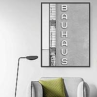 モダンな黒と白の建築ファッションポスター絵画キャンバスプリントアート壁の写真リビングルームの装飾(70x100cm)フレームレス