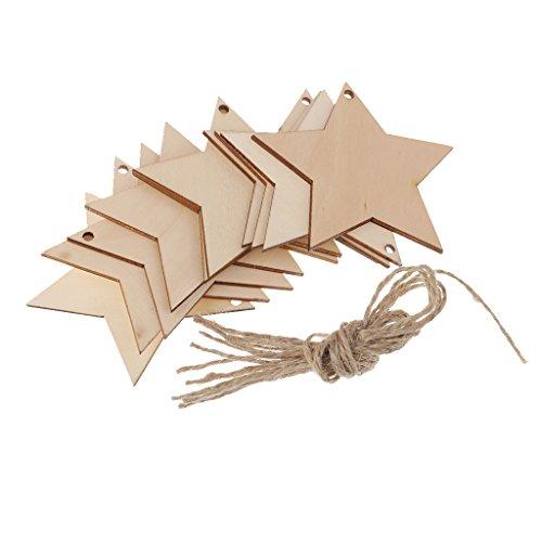 Holzsterne Set Holz Anhänger Geschenkanhänger Namenskarte Tischdekorationen Basteln Hochzeit Party Deko