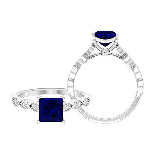 Anillo solitario de corte princesa de 6,5 mm, anillo de moissanita D-VSSI, anillo de compromiso de oro blanco de 14 quilates azul