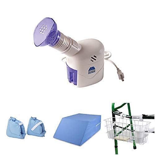 MABIS Personal Steam Inhaler Vaporizer with Aromatherapy Diffuser with Soft Comforting Heel Protector Pillows and Ortho Bed Wedge Elevated Leg Pillow, MABIS Universal Walker Basket