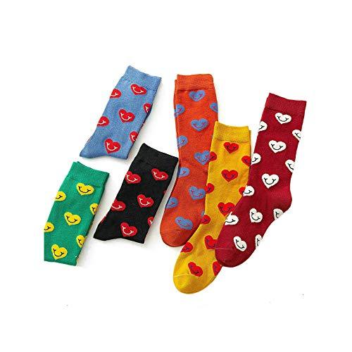 Amody 5 Paare Neuheit lustige coole Socken beiläufige Baumwollmannschafts-Socken-Sätze Mehrfarbenlächeln Herz Muster Crew Socken Geschenk für Männer Frauen Europa Größe 36-40