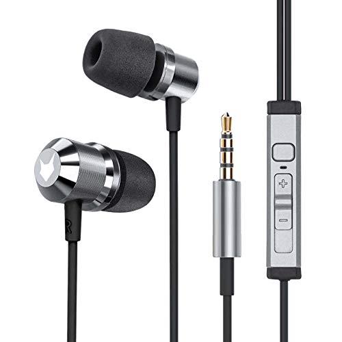 Mobilefox in-ear hoofdtelefoon headset magneet sport design memory foam oortelefoon microfoon grijs