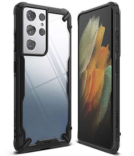 Ringke Fusion-X Compatible con Funda Galaxy S21 Ultra (6,8 Pulgadas), Transparente Rigida Carcasa Parachoque TPU Resistente Impactos Funda Negra - Black (Negro)