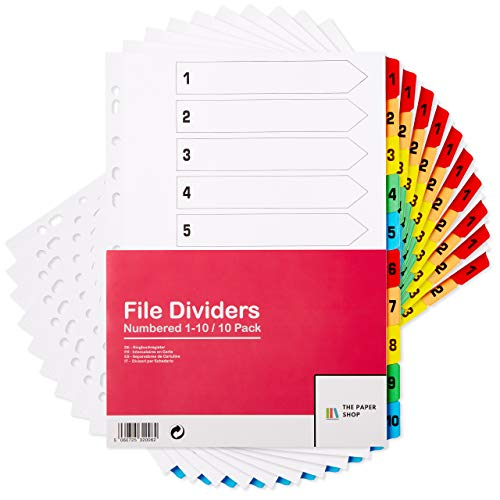 [10 Pack] A4 File Dividers 10 Part Numbered 1-10 | A4 Subject Dividers 10 Part Numbered 1-10 with Multipunched Reinforced Colour Tabs 150gsm