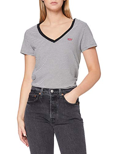 Levi's Vneck Camiseta, Blue (Annalise Stripe Cloud Dancer 0004), Large para Mujer