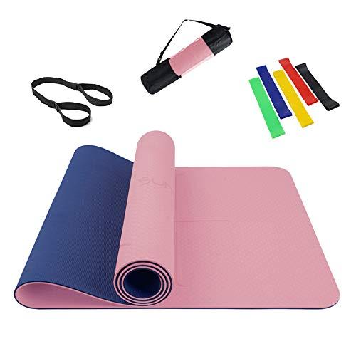 Summer Mae Yogamatte Gymnastikmatte Fitnessmatte Zweifarbig Gepolstert & rutschfest mit Ausrichtungslinie für Fitness 183 x 61 x 0,6 cm Rosa Blau