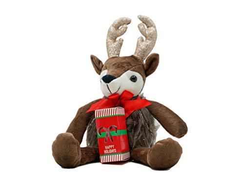 Christmas Stuffed Animal, Deer Plush Figurine with Candy Cane Gift, Stocking Stuffer for Kids, 12 Inch