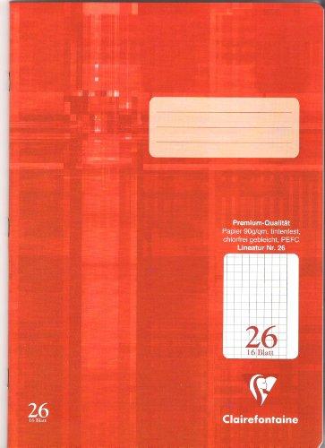 DAS PREMIUM SCHULHEFT Clairefontaine Schreibheft A4 ( Lineatur 26 ) a 16 Blatt  / Im 3er Pack  3x Schreibheft  a 16 Blatt.