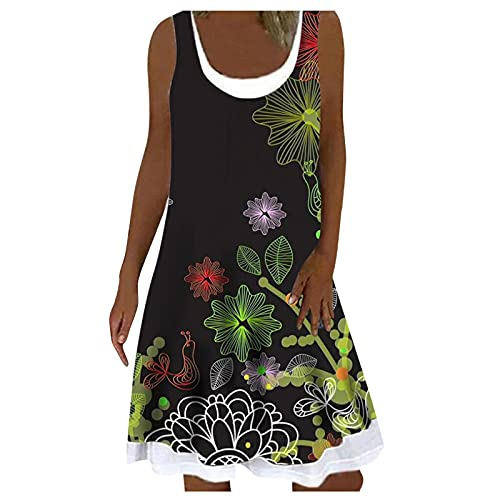 L9WEI Vestido de verano para mujer, sin mangas, largo hasta la rodilla, estilo boho, línea A, estampado de flores, cuello en U, informal, para la playa, minivestido, Mujer, Negro , extra-large