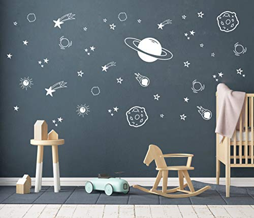 Planet Wall Decal, Boys Room Decor, Outer Space Wall Decals, Star Wall Stickers, Vinyl Wall Decals for Children Baby Kids Boys Bedroom, Nursery Decor Y04 (White)