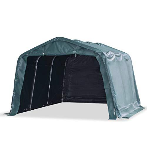 vidaXL Carpa para Ganado Desmontable Cobertizo Cenador Toldo Protección Refugio para Animales Caseta Exterior Aire Libre PVC Verde Oscuro 3,3x4,8 m