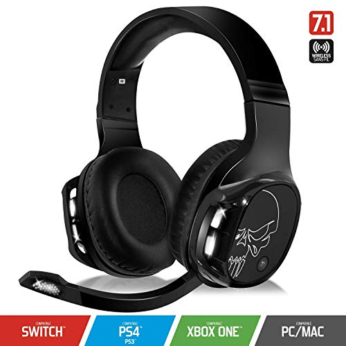 SPIRIT OF GAMER - XPERT-H1100 - Auriculares Inalámbricos 7.1 Surround Black Pro Gamer - LED Blancos - Piel Sintética - Micrófono Flexible - Autonomía 12H - PC / PS4 / XBOX ONE / SWITCH / MAC