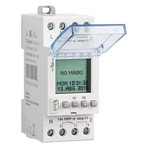 Legrand 412641 Interrupteur horaire digital modulaire programmable journalière ou hebdomadaire, 2 sorties 16A 250V, 230V