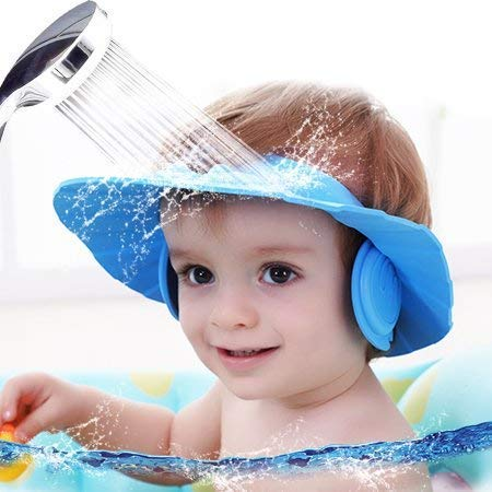 Creatif Ventures Adjustable Safe Soft Bathing Baby Shower Hair Wash Cap for Children (Multicolour)