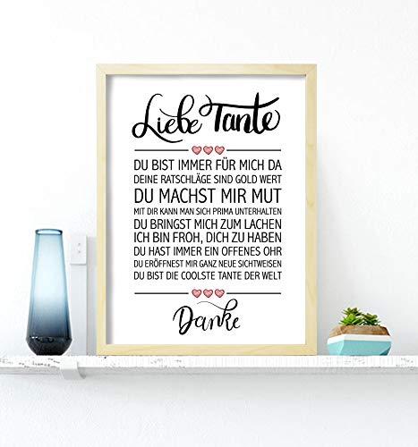 Close Up Beste Tante - Danke Zitate Poster - Deko Geschenk zum Geburtstag, Weihnachten, jeden Tag - 30 x 40 cm, Premium Qualität - mit Kieferrahmen