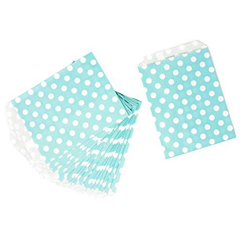 Oblique Unique® 24 Geschenktüten Papier Tüten Geschenktaschen gepunktet für Geburtstag Kindergeburtstag Baby Shower Party Feier Mitgebsel UVM. (Türkis)