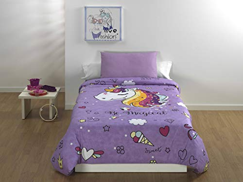 Sibiles - Juego Funda Nórdica Infantil Niñas Unicornio Mágico Rainbow Cama 90/105 de 180x240 cm