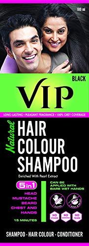 VIP Hair Color Shampoo, Black, 180ml