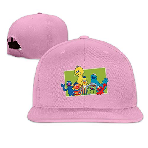 JierJi Unisex Characters Clip Art Pattern Design Flat Bill Baseball Hats Pink