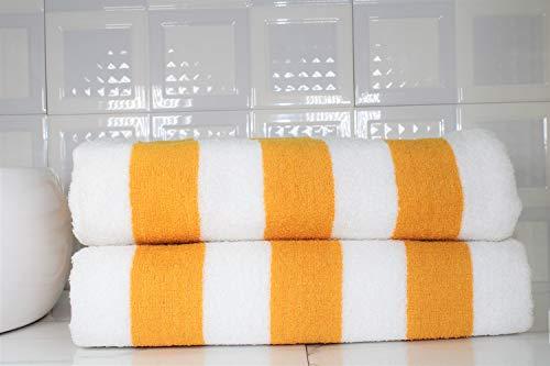 Tharunsha Elite Ultra Soft Pure Cotton Quick Dry 500 GSM Jumbo Terry Bath/Beach/Shower/Gym Sports, Swimming Pool Towel (Yellow White, 37X70 Inch) - Set of 2