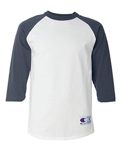 Champion Men's Raglan Baseball T-Shirt, White/Navy, Large