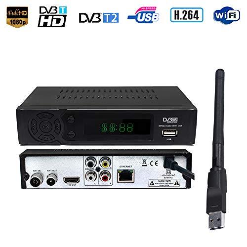 Ashey Terrestrial Decoder-TV-Receiver Set-Top-Box Smart-DVB-T2 DVB-T Receiver HD Digital TV-Tuner-Empfänger für alte und Neue Fernseher YouTube MPEG-4 DVB-T H.264