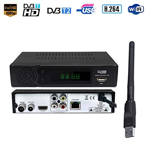 Ashey Terrestre Decodificador Receptor de TV Set Top Box Inteligente DVB-T2 de DVB-T Sintonizador de TV Receptor Receptor HD Digital para Viejos y nuevos televisores Youtube MPEG-4 DVB-T H.264
