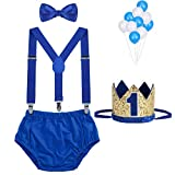 WELROG Baby Boys First Birthday Cake Smash Outfit Bow Tie Suspenders Bloomers Birthday Hat Sparkle Gold Set (Royal Blue)