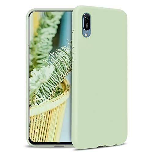 TXLING Custodia per Huawei Honor 8A/Y6 PRO 2019 Silicone Liquido Case Cover TPU Gel Shockproof Anti-Scratch Telefono Caso con fot Microfibre Cloth Lining Cushion Verde