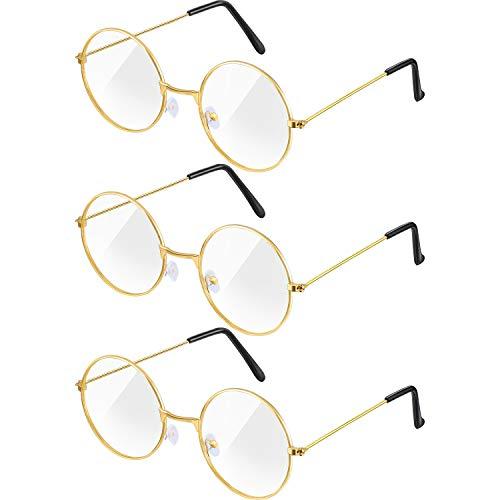 Frienda 3 Pairs Old Man Costume Glasses Santa Glasses Gold Round Glasses Clear Lens Glasses for Men Women Christmas Dress Up Accessories