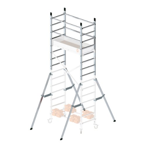 Hailo 9902-101 - 1ª extensión para andamio de aluminio Hailo 9900-101, 407 x 157 x 71 cm (altura max de trabajo: 5 m)